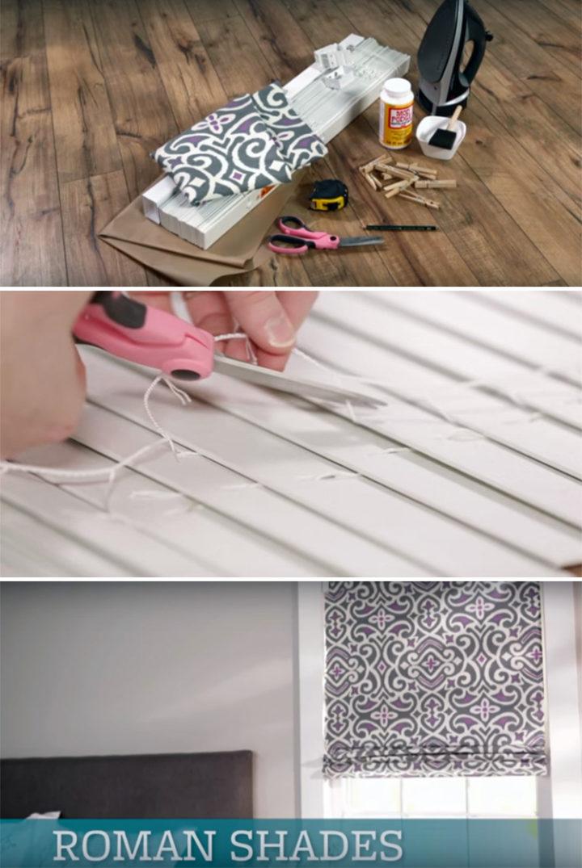 DIY Roman Shades by Repurposing Faux Wood Mini Blinds.