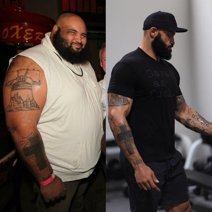 After eating healthy and walking for a full year, he lost an astonishing 200 pounds! When he started, he had high-blood pressure, had 58% body fat, and was pre-diabetic. Now he is 275 lbs, has 10% body fat with normal blood pressure and blood glucose levels.