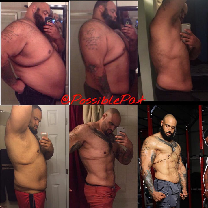 Keeping track of weight loss is one step to staying motivated and Pat took photos of his progress over time. The results speak for themselves.