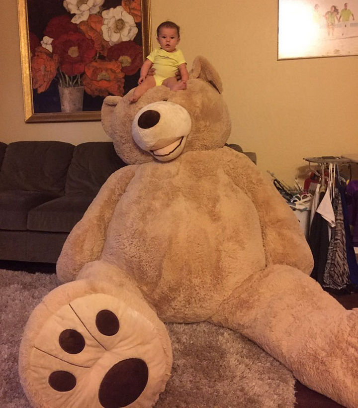 When Maddie's grandfather presented her with her giant teddy bear, she loved it!