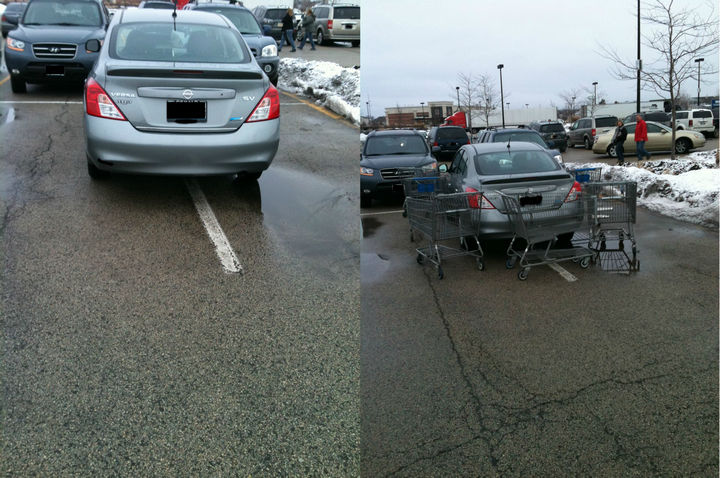 19 Bad Parking Fails - He probably didn't want his car scratched at the shopping mall. It didn't work.