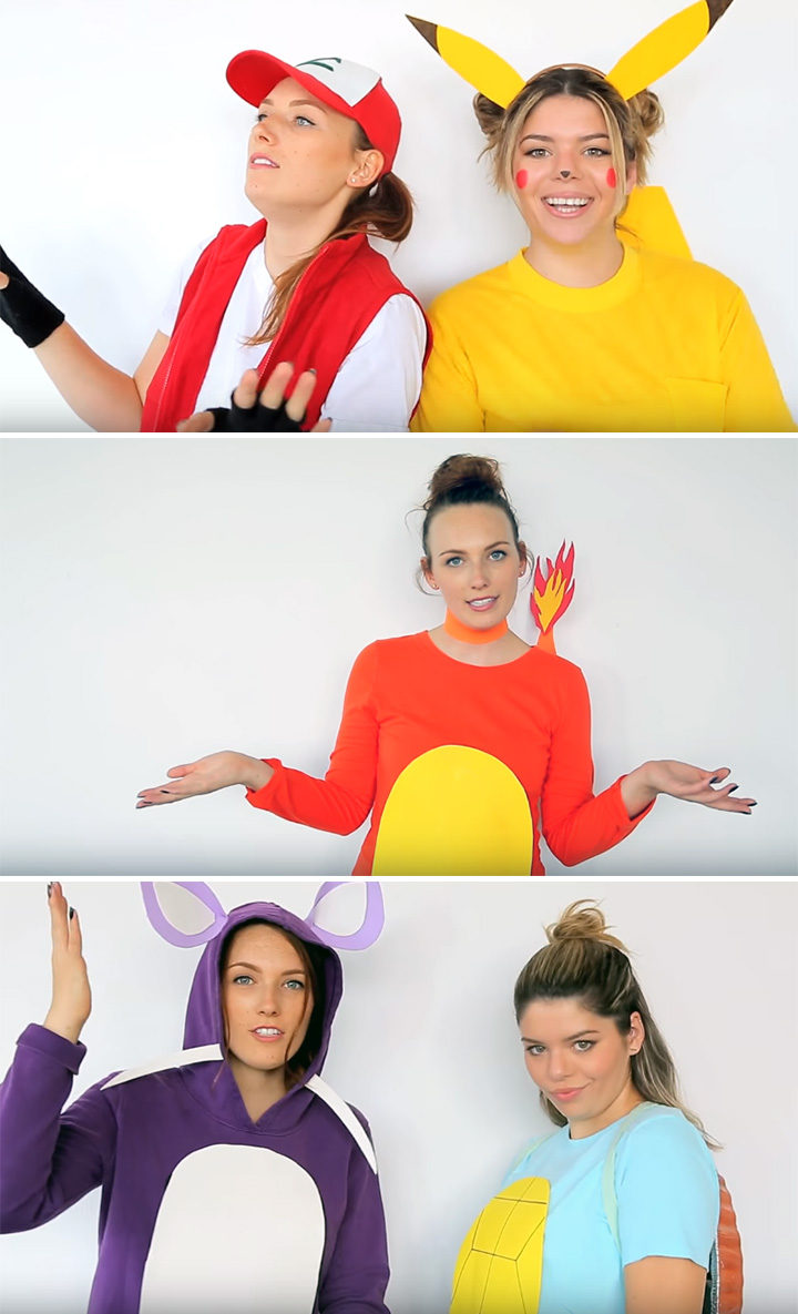 20 Pokémon Costumes for Halloween - DIY Pokémon Trainer, Pikachu, Charmander, Rattata, and Squirtle Costumes.