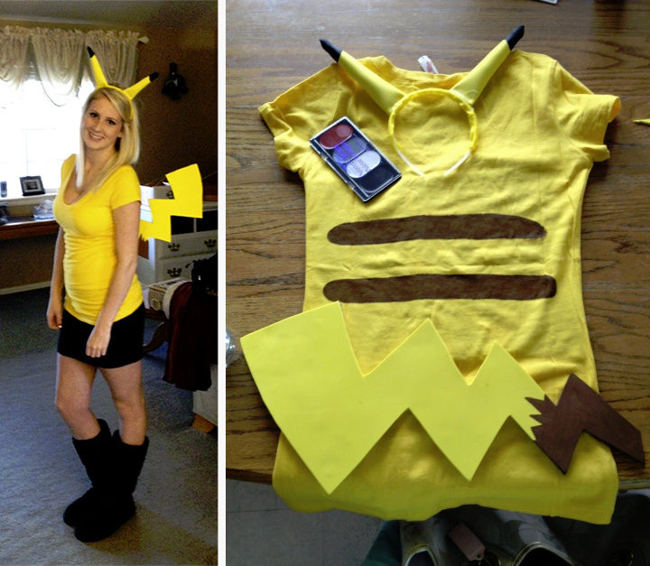 20 Pokémon Costumes for Halloween - DIY Pikachu costume.