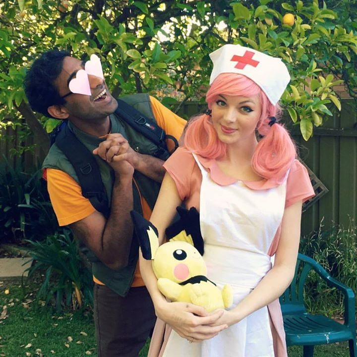 20 Pokémon Costumes for Halloween - Brock and Nurse Joy couples costume.