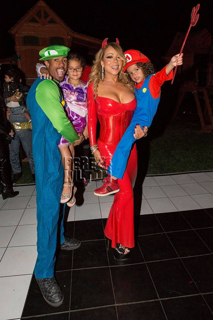 23 Super Mario and Luigi Costumes - Mariah Carey dressed as a sexy devil joined her ex-husband Nick Cannon dressed as Luigi for some dress up fun. Their son Moroccan joined him as Super Mario and daughter Monroe was dressed as a princess.