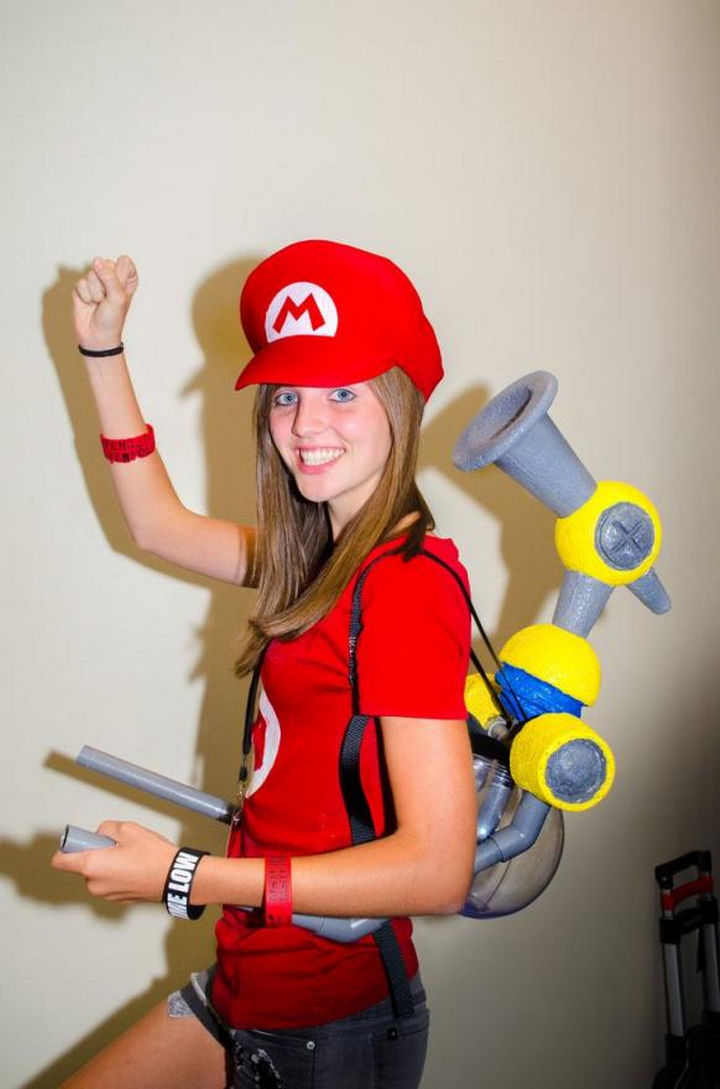 23 Super Mario and Luigi Costumes - Who can forget Super Mario Sunshine! She even has a DIY F.L.U.D.D. that looks fantastic!
