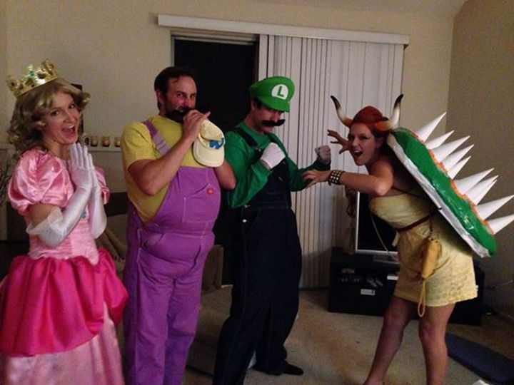 21) Halloween family fun as Luigi Wario Bowser and Princess Peach.  sc 1 st  Winkgo & 23 Super Mario Costumes to Make You