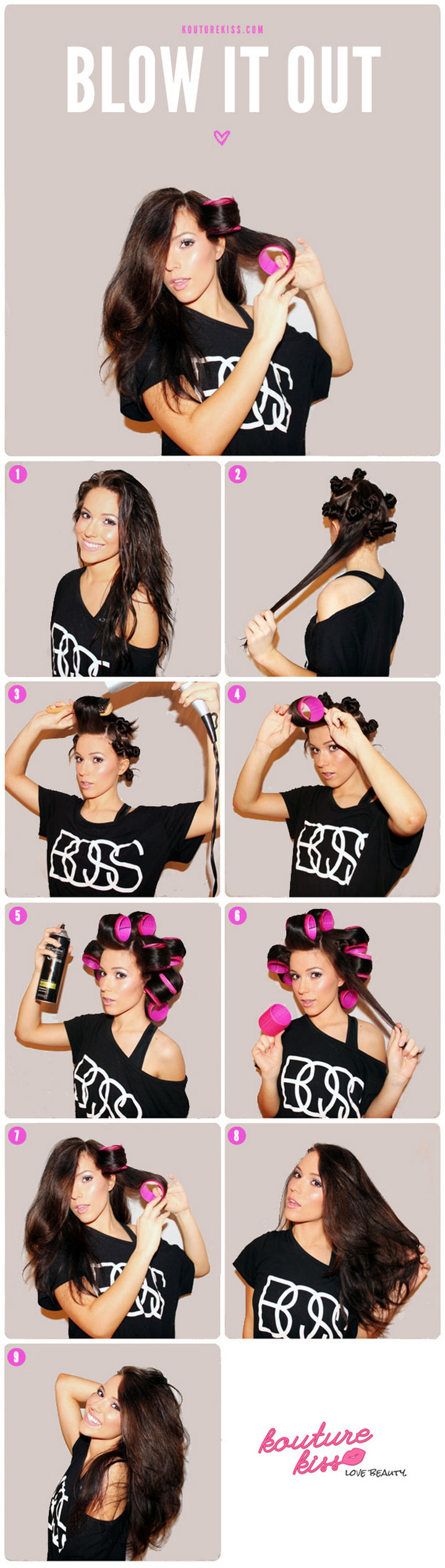 25 Lazy Girl Hair Hacks - Get a round brush blowout look without the effort by using self-grip velcro rollers.