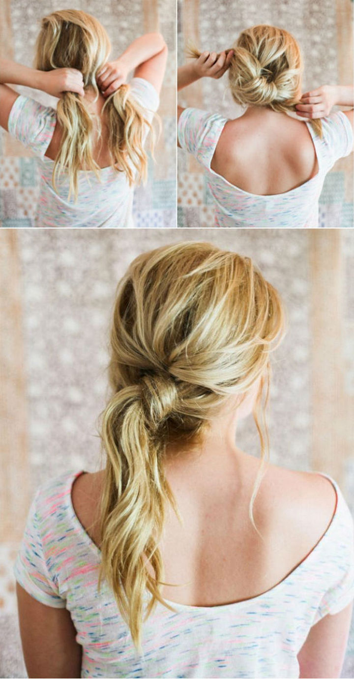 25 Lazy Girl Hair Hacks - Go with a messy knot instead of a typical ponytail.