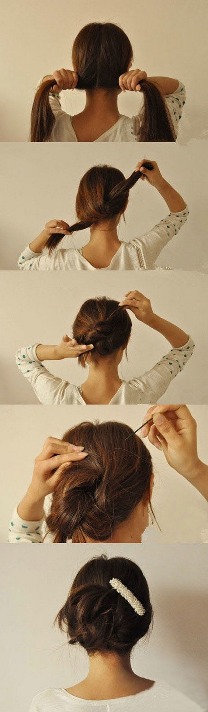 25 Lazy Girl Hair Hacks - A 20-second DIY updo hairstyle. Simply split, knot, twist, and pin.