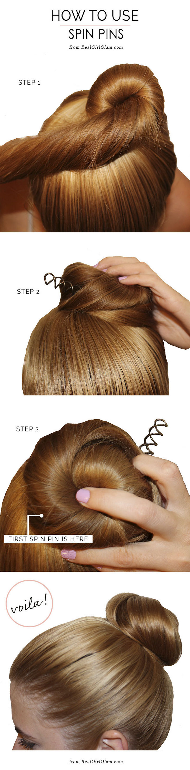 25 Lazy Girl Hair Hacks - Spin pins lets you create an awesome look in seconds!