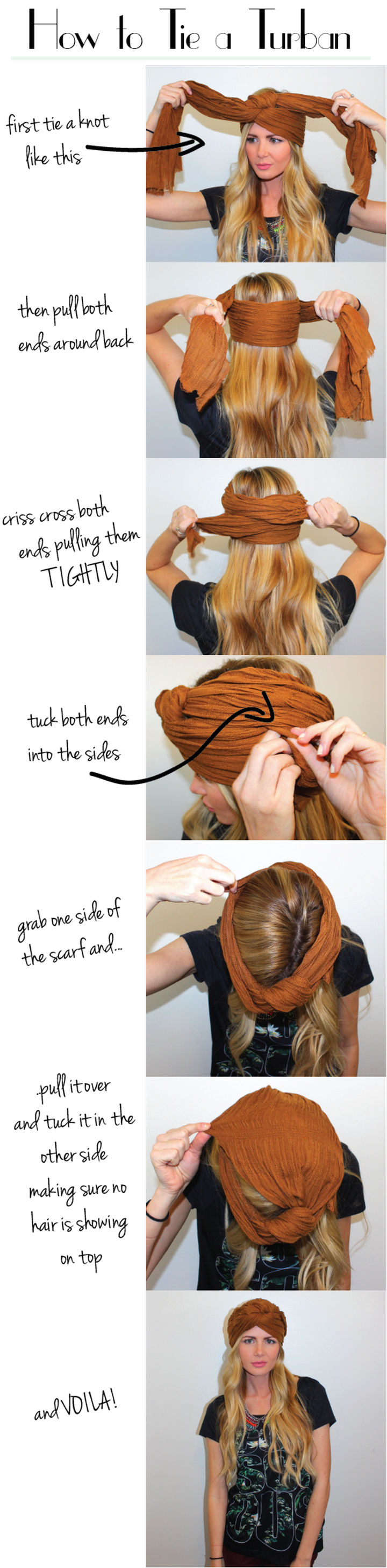 25 Lazy Girl Hair Hacks - Cover up a bad hair day by rockin' a turban.