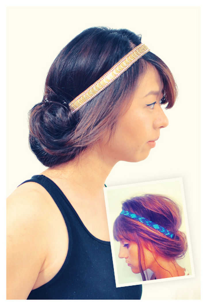 25 Lazy Girl Hair Hacks - Tuck your hair with a headband.