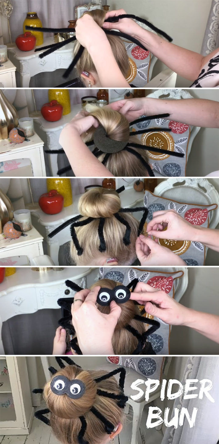 Diy Halloween Hairstyles Spider Hair Bun Tutorial Is Super Easy