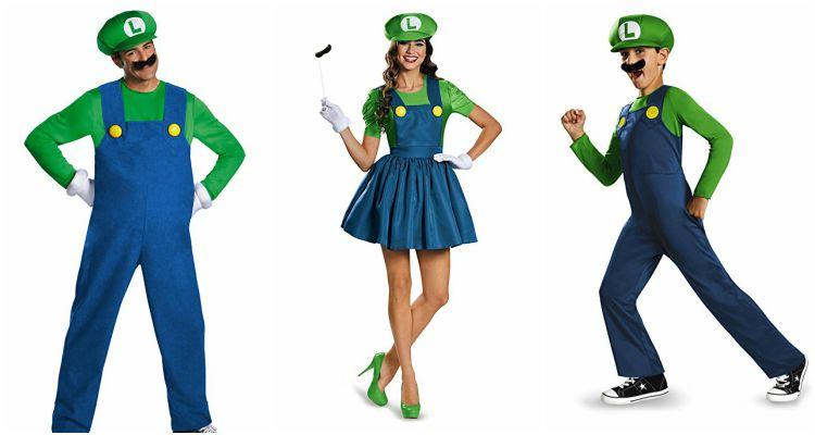 Luigi costumes for men, women, and children.