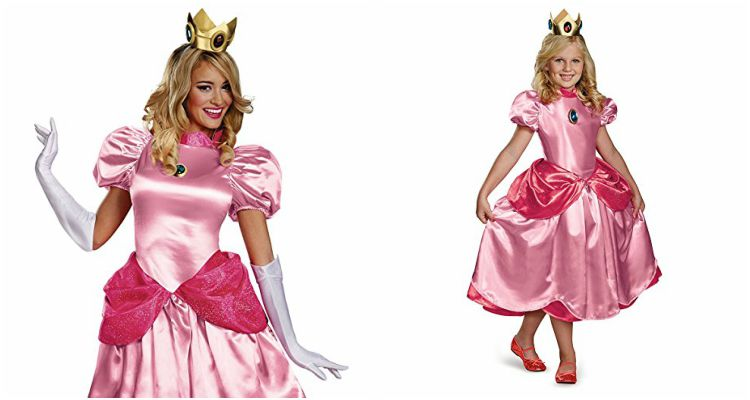 Princess Peach costumes for women and children.