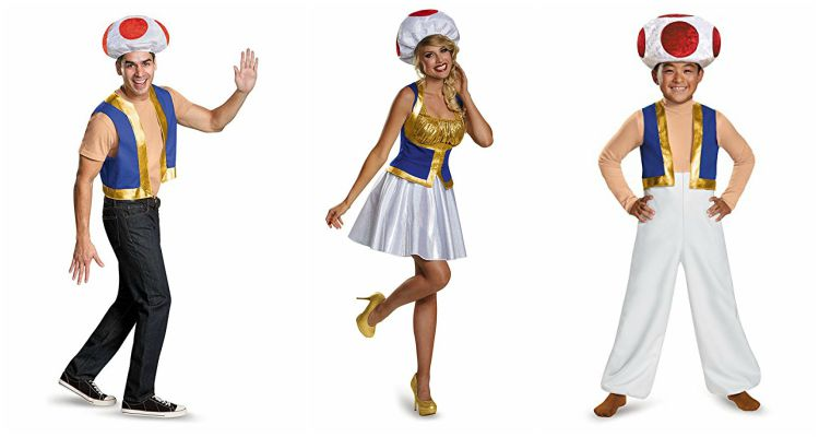 Toad costumes in men, women, and child sizes.
