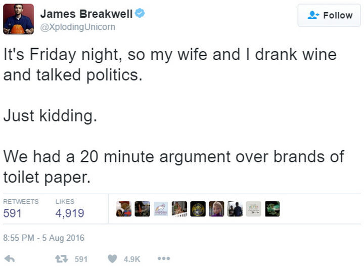 18 Funny Tweets About Marriage - Politics. Toilet paper. Pretty much the same thing.