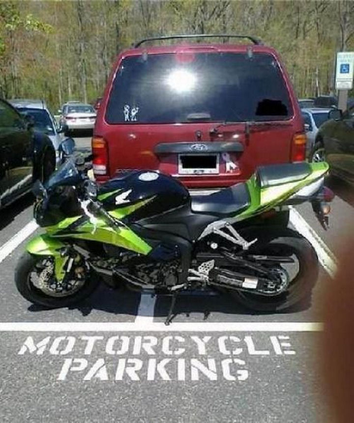19 Funny Karma Images - Motorcycle parking only.
