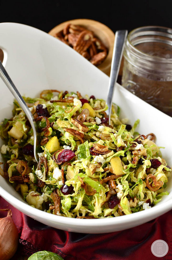 20 Top Pinterest Thanksgiving Recipes - Fall Shredded Brussels Sprouts Salad