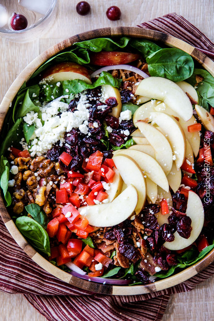 20 Top Pinterest Thanksgiving Recipes - Apple Cranberry Bacon Candied Walnut Salad with Apple Poppy Seed Vinaigrette.