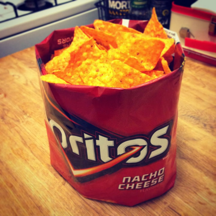 Things you've been doing wrong - Use the chip bag as a bowl for easy cleanups.