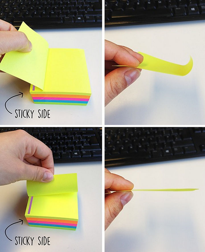 21 Everyday Life Hacks - Tear sticky notes from side to side to prevent curling.