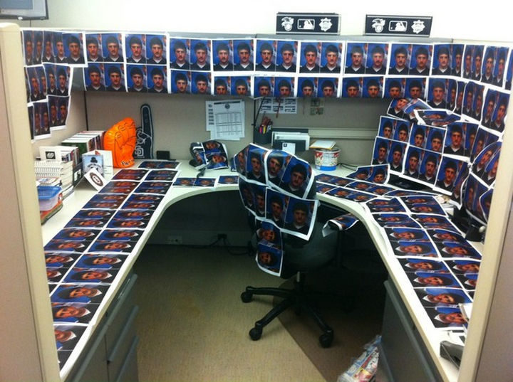 26 Funny Office Pranks - Posting that horrible school photo you've always dreaded.