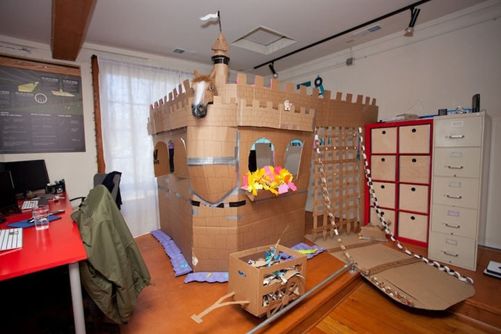 26 Funny Office Pranks - An office fort. Nice touch with the horse!