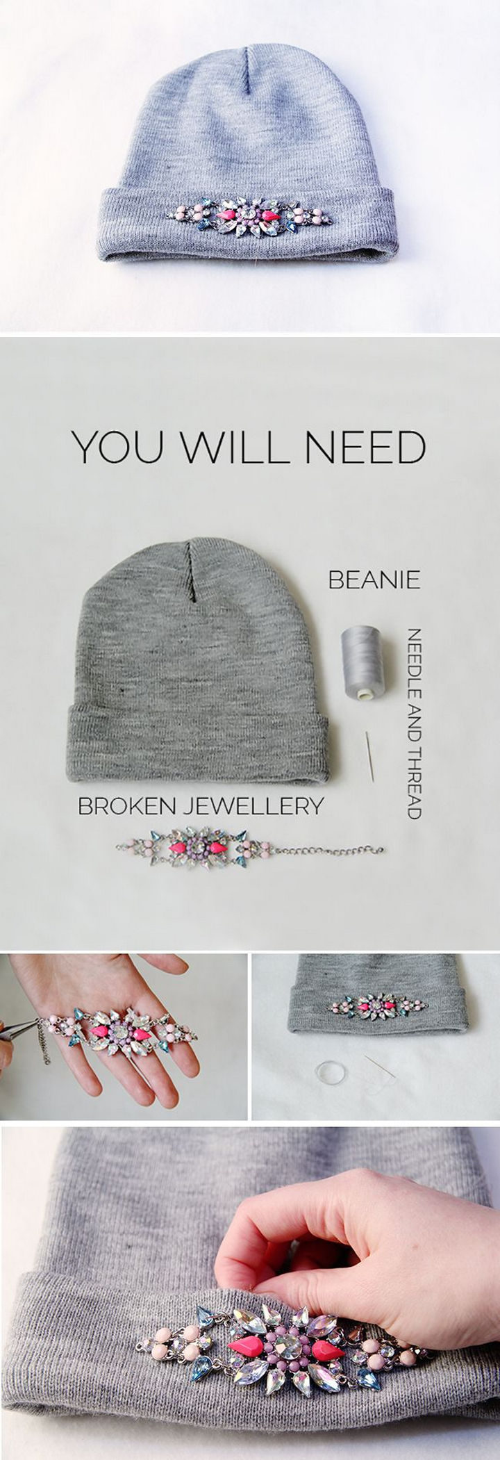 18 DIY Winter Clothes and Accessories - Add some bling to your beanie.