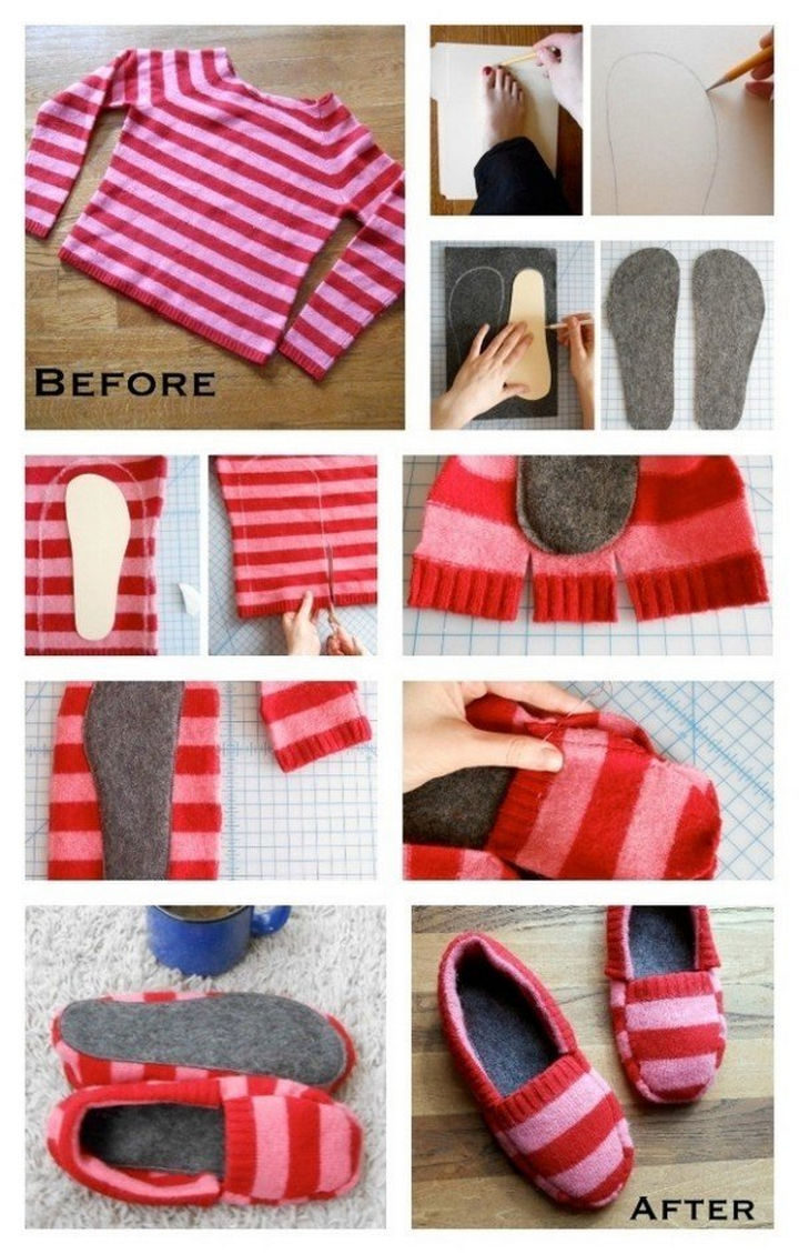 18 DIY Winter Clothes and Accessories - Upcycle an old sweater into warm DIY slippers.
