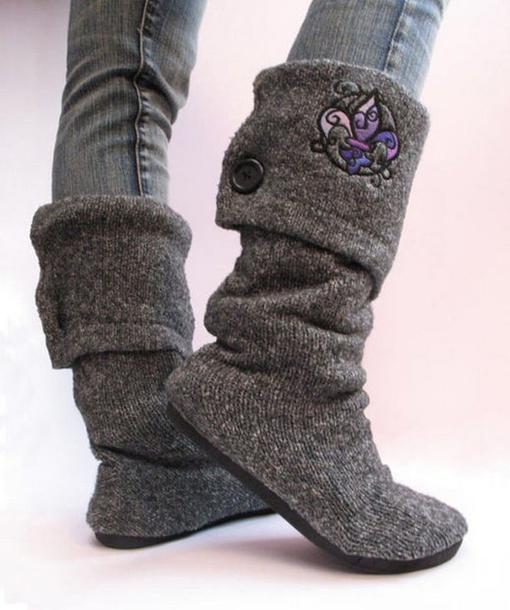 18 DIY Winter Clothes and Accessories - Create sweater boots from a pair of flats and an old sweater!