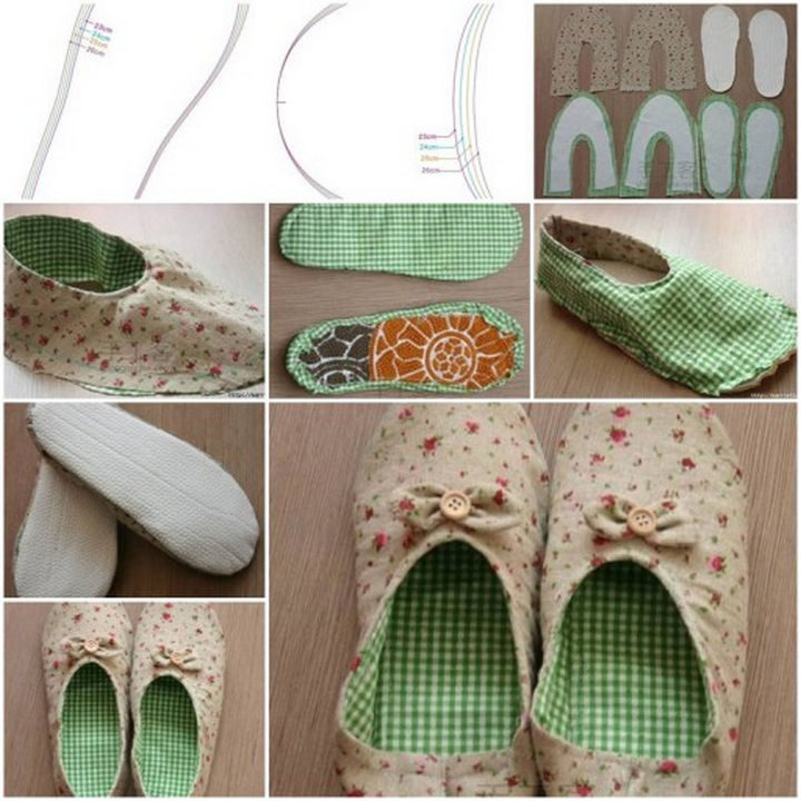 18 DIY Winter Clothes and Accessories - Keep your feet warm with DIY house slippers.