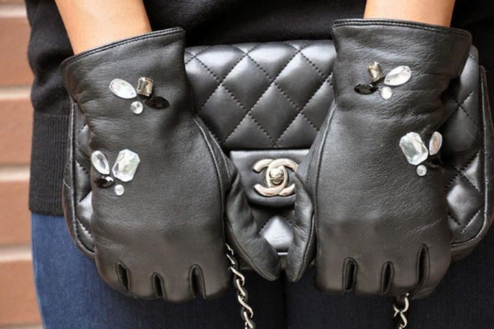 18 DIY Winter Clothes and Accessories - Add some jeweled bling to your black leather gloves.
