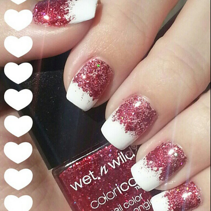 18 Reverse Gradient Nails - Inspiring red glitter reverse gradient nails.