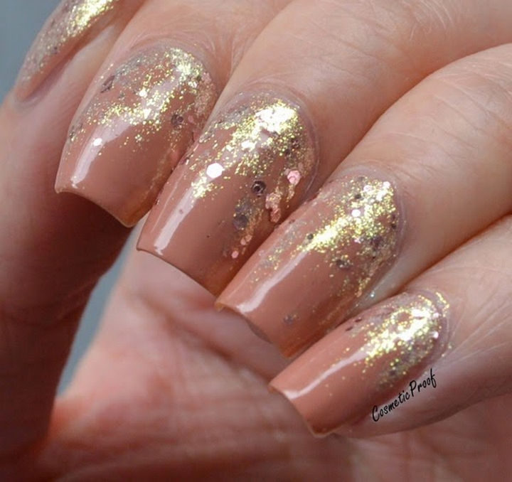 Feel like a Queen with these gorgeous rose nails with gold glitter reverse gradient.