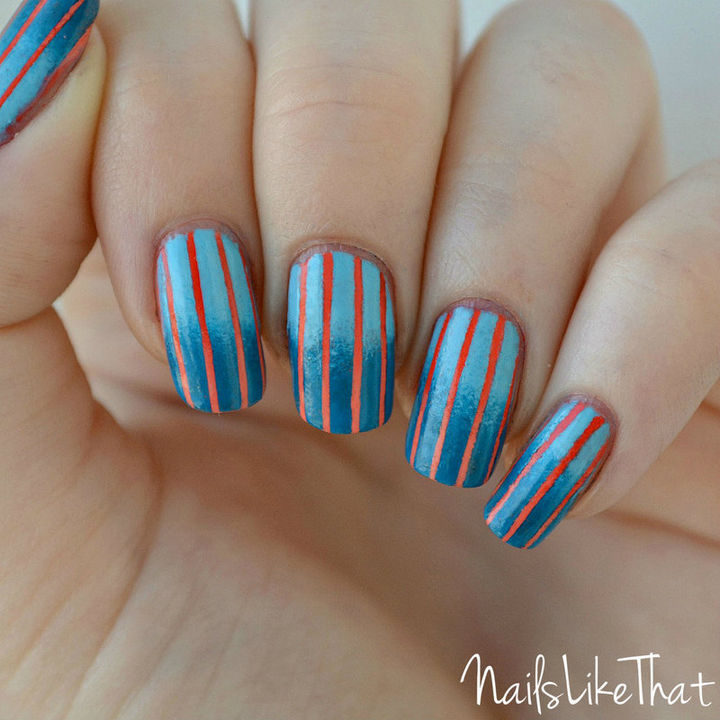 18 Reverse Gradient Nails - Orange and blue look great together with these reverse gradient nails.