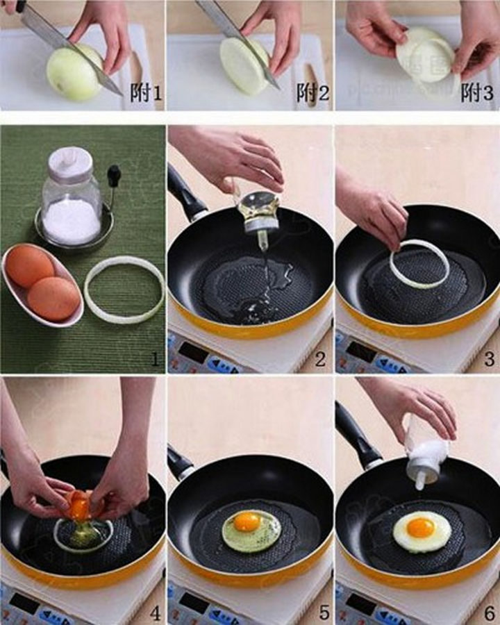 26 Simple Life Hacks - Make perfectly round eggs for your breakfast egg muffin sandwich.