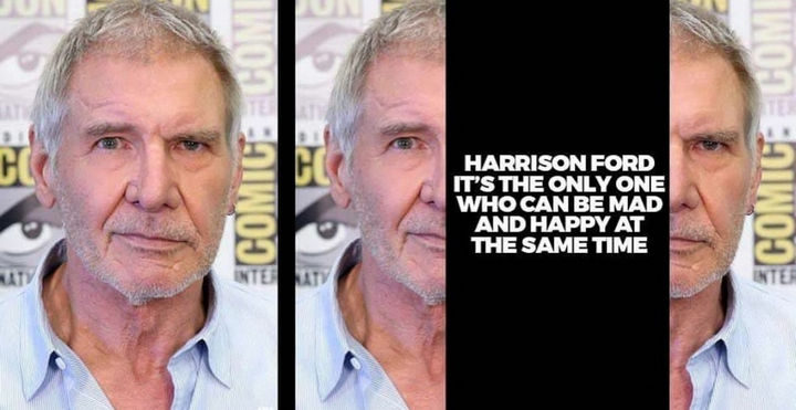 9 Funny Things You Cannot Unsee - Harrison Ford has the ability to look happy and mad at the same time.