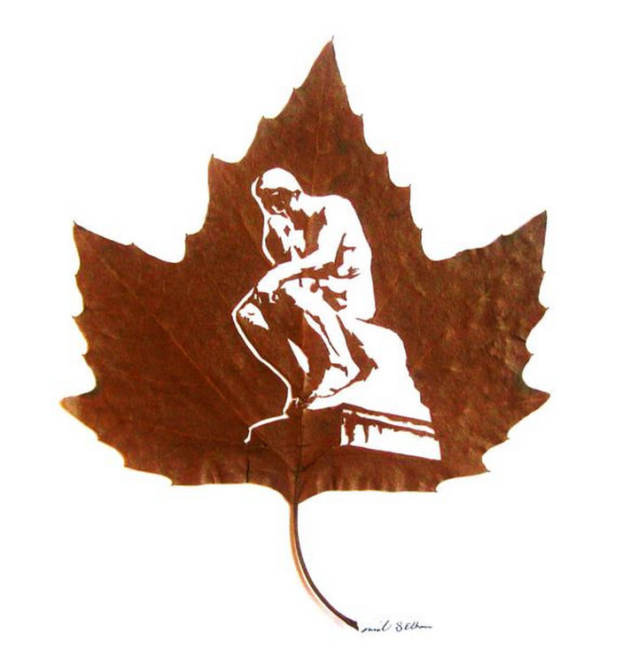 2) All he needs is a scalpel, a magnifying glass, and a needle to create intricate leaf carvings.