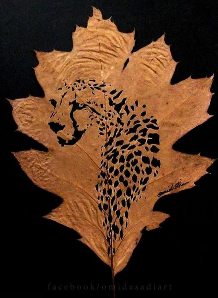 This orange leaf was the perfect canvas for creating a Persian Cheetah.