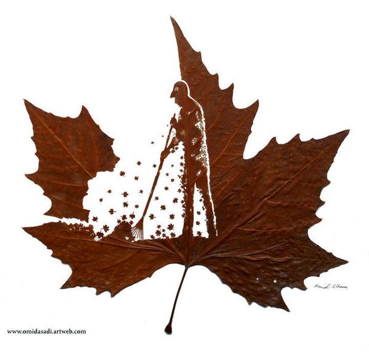 Autumn is the season for raking leaves and this leaf carving depicts it perfectly.