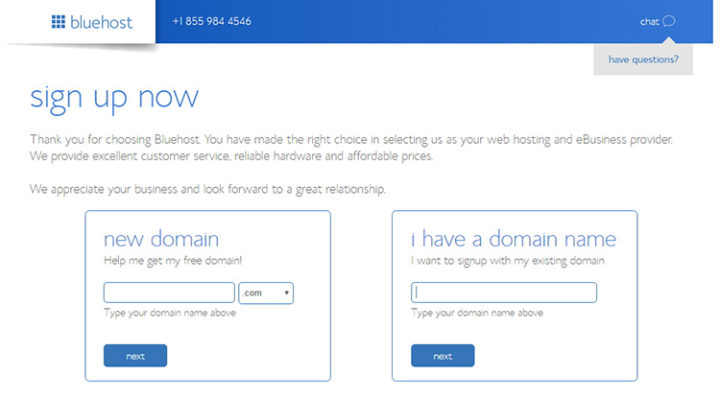 Sign up now with Bluehost.