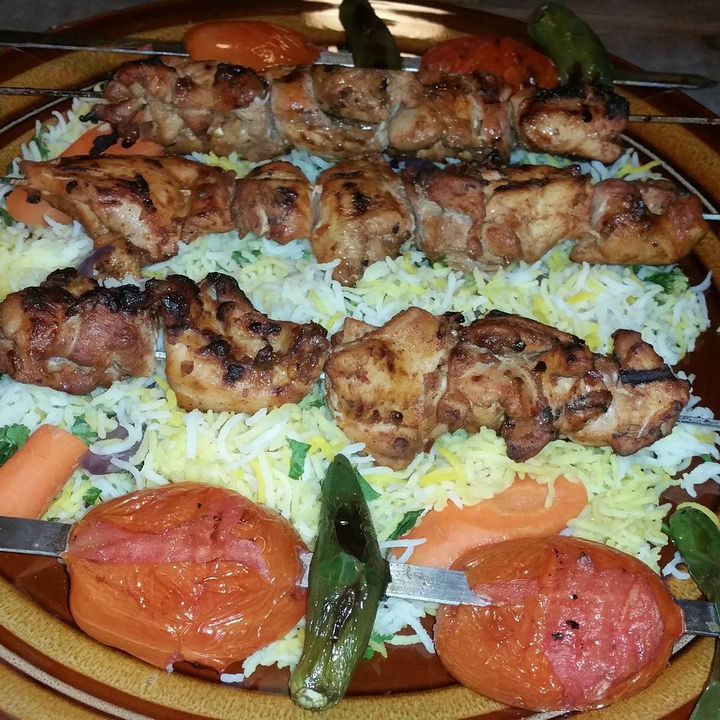 The main dish was a choice of Chicken Shish or a chicken or vegetable casserole. For dessert there was yummy rice pudding.