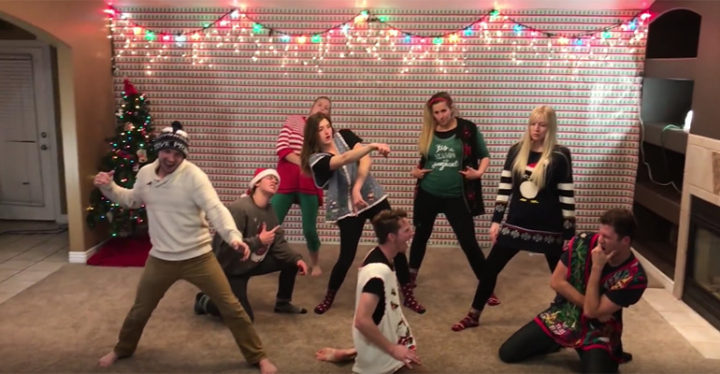 Family Dances to Pentatonix and Mariah Carey in Christmas Dance VIdeo