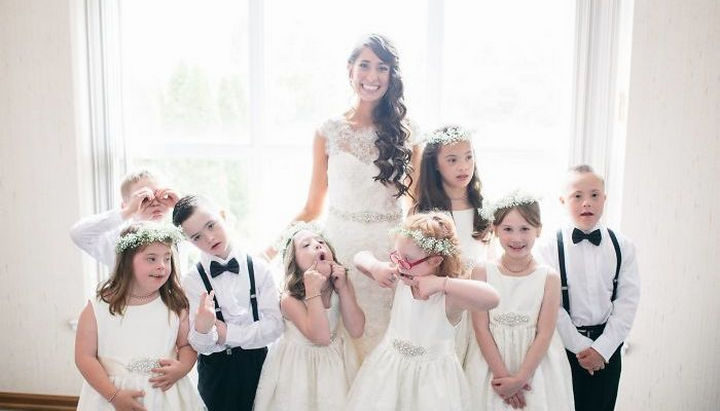 Kinsey French and her husband Josh couldn't have picked a cuter wedding party.