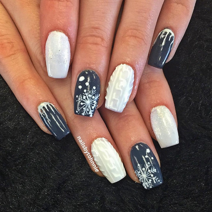 10 Winter Sweater Nails - Winter nails looking great with a little bit of  everything. - 10 Beautiful Winter Sweater Nail Designs And Ideas