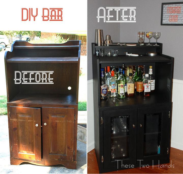 18 DIY Bars and Bar Carts - Microwave cart DIY bar.