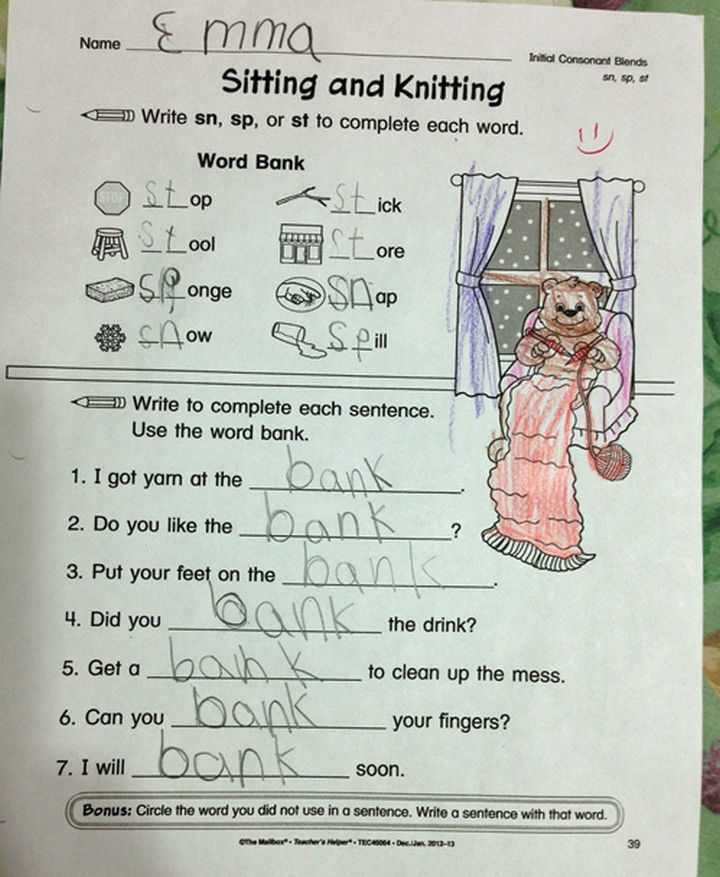 """18 Kids Taking Instructions Too Literally - Confusion with the """"Word Bank."""""""