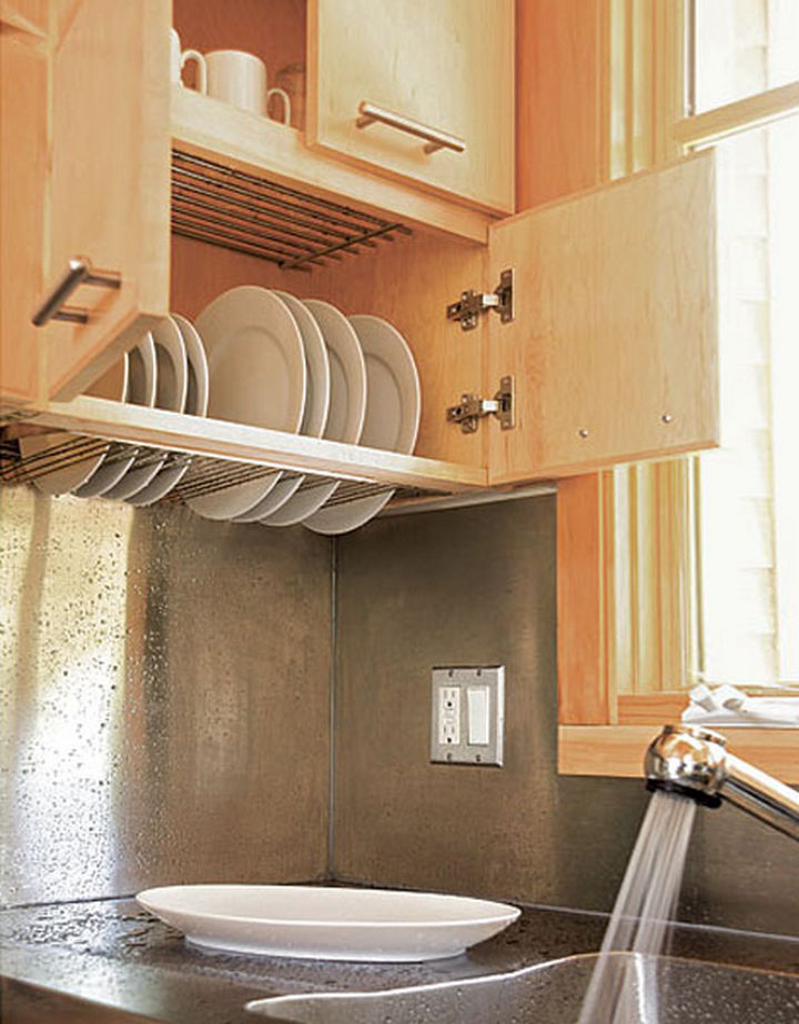 18 DIY Storage Ideas For Your Home - Build a dish-drying cabinet above your sink.